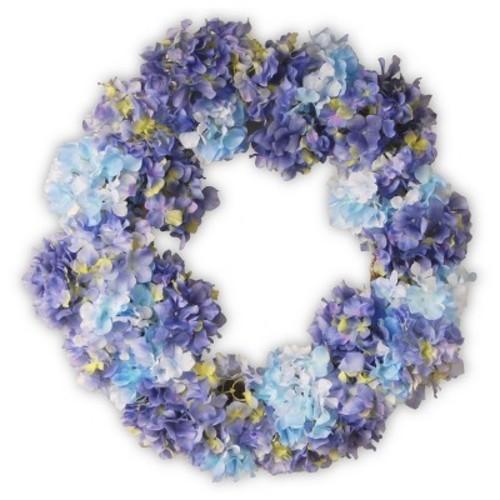 Garden Accents Artificial Hydrangea Wreath Blue 25