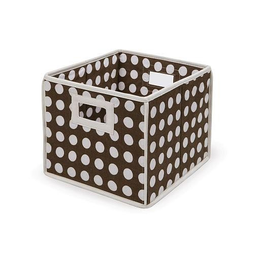 Badger Basket Folding Storage Bin - Brown Polka Dot