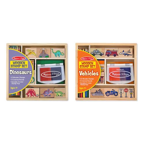 Melissa & Doug Stamp Set Bundle - Dinosaurs and Vehicles