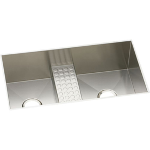 Elkay Avado 18.5-in x 33-in Polished Satin Double-Basin Stainless Steel Undermount Residential Kitchen Sink Drainboard Included