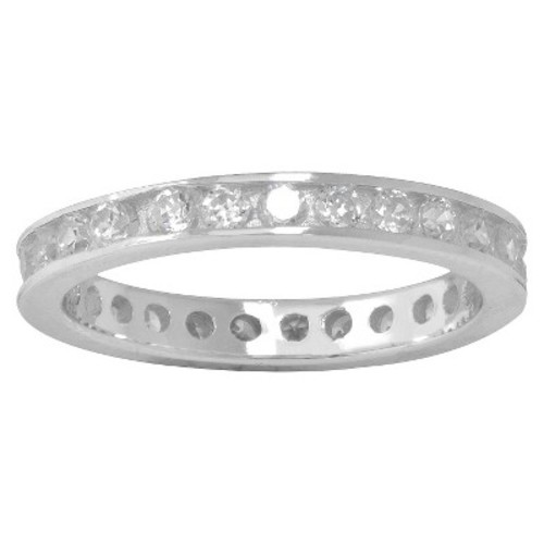Silver Plated Cubic Zirconia Eternity Band Ring - Size 7