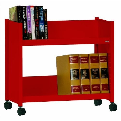 Sandusky SR227-01 Red Heavy Duty Welded Steel Single Sided Sloped Shelf Book Truck, 2 Shelves, 25