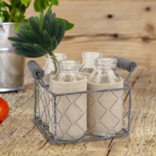 Stonebriar Collection Decorative Milk Bottle & Farmhouse Basket 5-piece Set