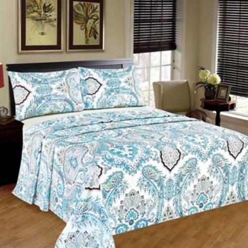 Tache Home Fashion Frozen Forest 100pct Cotton Flat Sheet Set; Twin