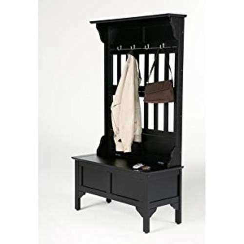 Home Style 5650-49 Full Hall Tree and Storage Bench, Black Finish [Black]