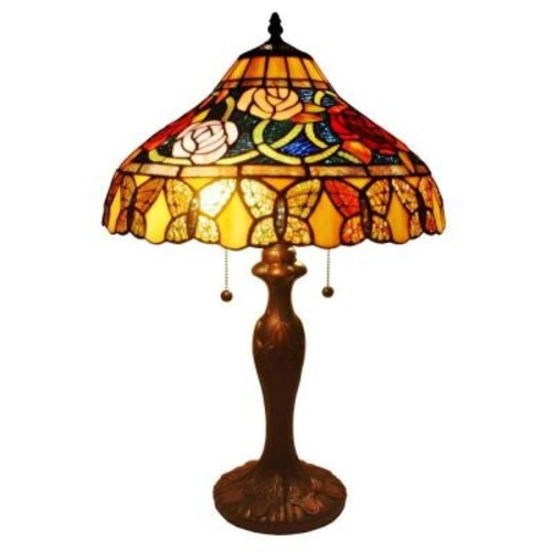 Amora Lighting 24 in. Tiffany Style Roses and Butterflies Table Lamp