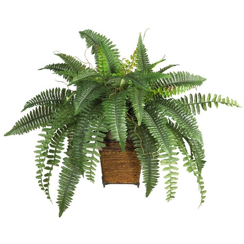 Nearly Natural 23 in. Boston Fern Silk Plant with Wicker Basket