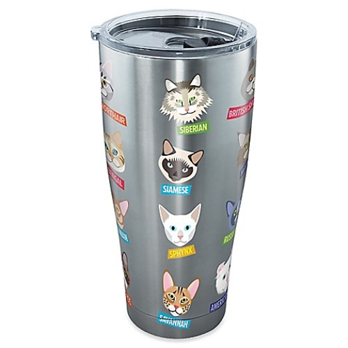 Tervis Flat Art Cat 30 oz. Stainless Steel Tumbler with Lid