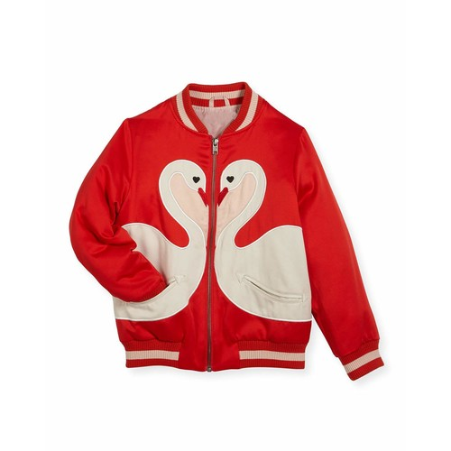 STELLA MCCARTNEY Willow Swan Bomber Jacket, Size 4-14