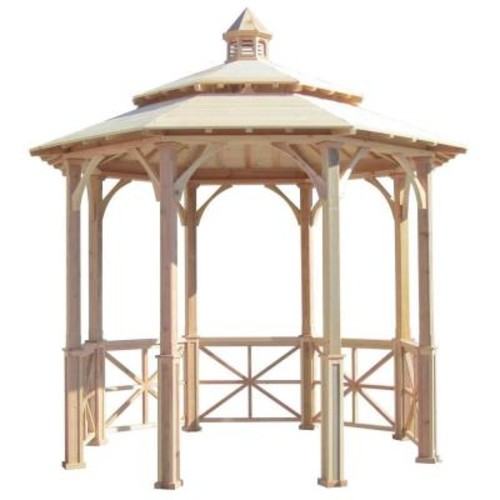 SamsGazebos 10 ft. Octagon English Cottage Garden Gazebo with 2-Tiered Roof and Cupola - Adjustable for Uneven Patio
