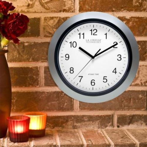 La Crosse Technology 12 in. Round Atomic Analog Wall Clock in Silver