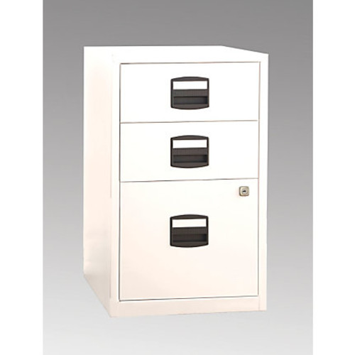 Bisley Steel Letter-Size Under-Desk Storage Cabinet, 3 Drawers, White