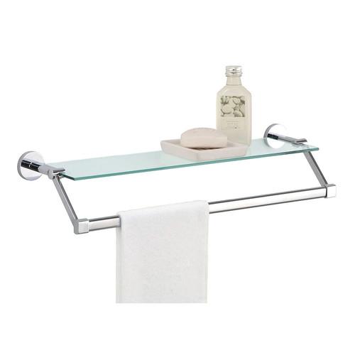 Neu Home Glass Shelf Towel Rack - Silver