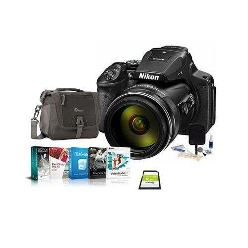 Nikon COOLPIX P900 Digital Camera, 83x Optical Zoom - Bundle with Camera Bag, 16GB Class 10 SDHC Card, Cleaning Kit, Software Package