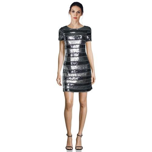 Embellished Striped Short Sleeve Dress