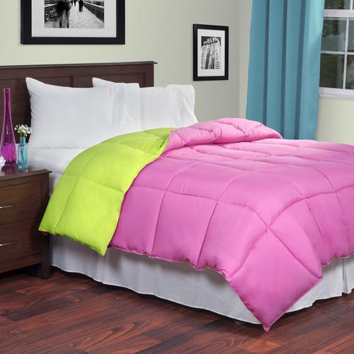 Lavish Home Reversible Down Alternative Comforter - Pink/Lime