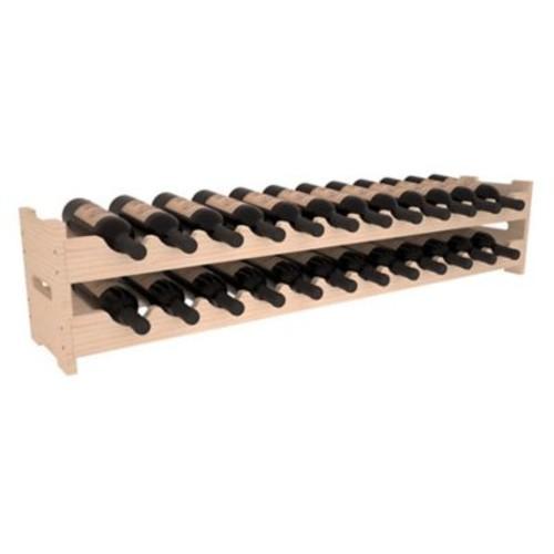 Red Barrel Studio Karnes Pine Scalloped 24 Bottle Tabletop Wine Rack; Natural
