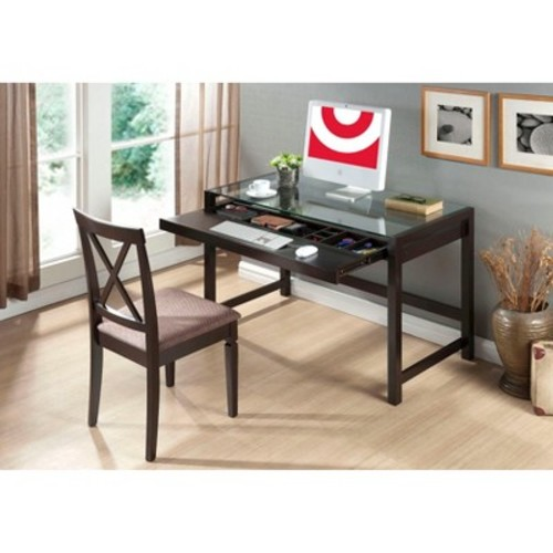 Baxton Studio Idabel Dark Brown Wood Modern Desk with Glass Top [Dark Brown]