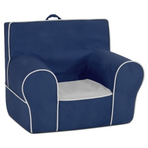 Kid's Grab-N-Go Foam Chair With Handle - Navy With Pebbles Seat & Welt Trim - Kangaroo Trading Co.