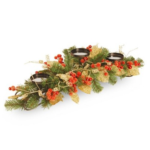 National Tree Company 30in Berry and Leaf Vine 3 Candle Holder