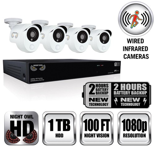 Night Owl Integrated Battery Backup 8-Channel 1080p HD Video Security DVR with 1 TB HDD and 4 x 1080p Wired Infrared Cameras