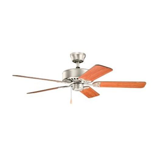 Alcott Hill 50'' Borgen 5-Blade Steel Fan; Brushed Nickel with Walnut/Cherry Blades