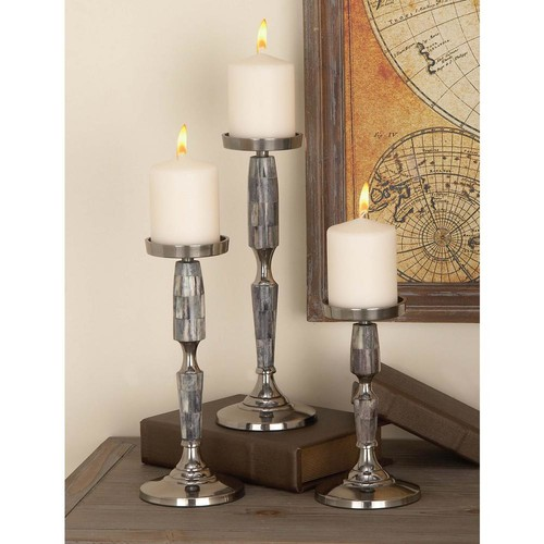 Silver-Finished Gray Aluminum Candle Holders with Gray Shell Accents (Set of 3)