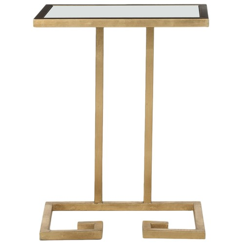 Murphy Accent Table w\/ White Glass Top design by Safavieh