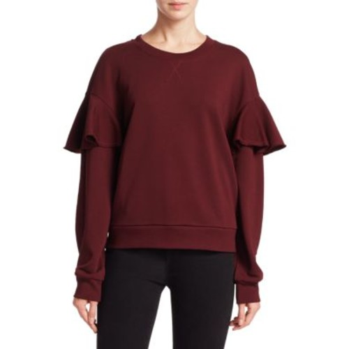 BURBERRY Crewneck Cotton Mock Ruffle Sleeve Sweatshirt