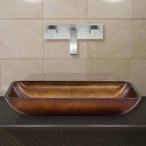 VIGO Rectangular Russet Glass Vessel Sink and Wall Mount Faucet Set in Brushed Nickel