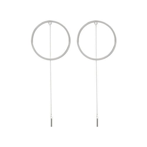 Circle & Chain Drop Earrings