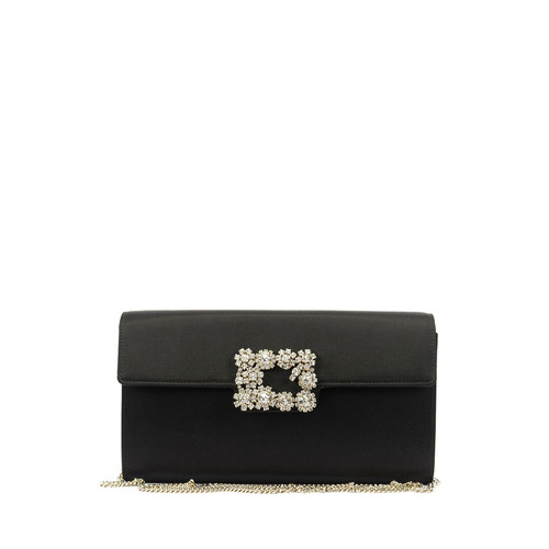ROGER VIVIER Floral Crystal-Buckle Clutch Bag, Black