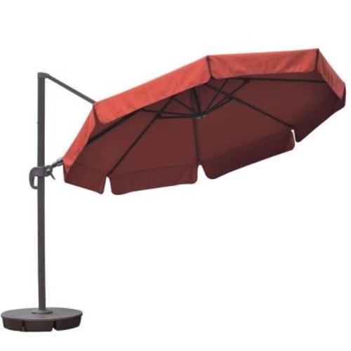 Island Umbrella Freeport 11 ft. Octagon Cantilever with Valance Patio Umbrella in Terra Cotta Sunbrella Acrylic