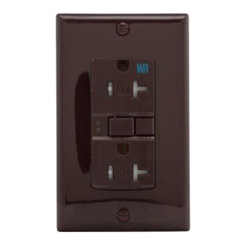 Eaton GFCI Self-Test 20A -125V Tamper and Weather Resistant Duplex Receptacle with Standard Size Wallplate, Brown