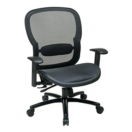 SPACE Seating Big and Tall Mesh Back and Seat, 2-to-1 Synchro Tilt Control Adjustable Arms and Lumbar Support with Black Base Managers Chair [Black]
