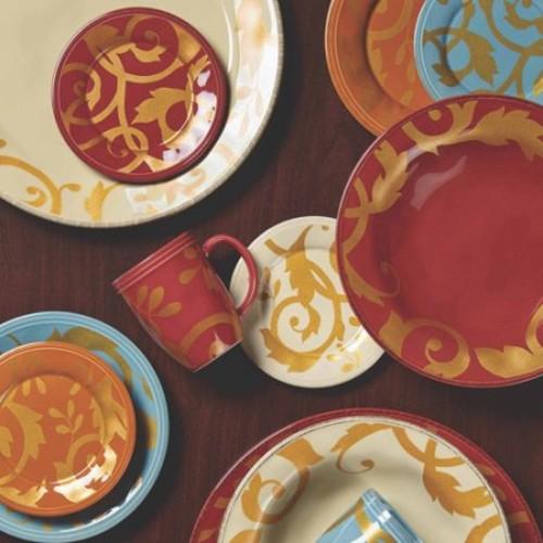 Rachael Ray Dinnerware Gold Scroll 12-1/2