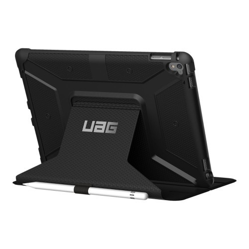 Urban Armor Gear Flip cover for tablet - rugged - black - for Apple 9.7-inch iPad Pro (IPDPRO9.7-BLK)