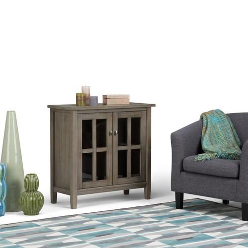 Simpli Home Warm Shaker Distressed Grey Low Storage Cabinet