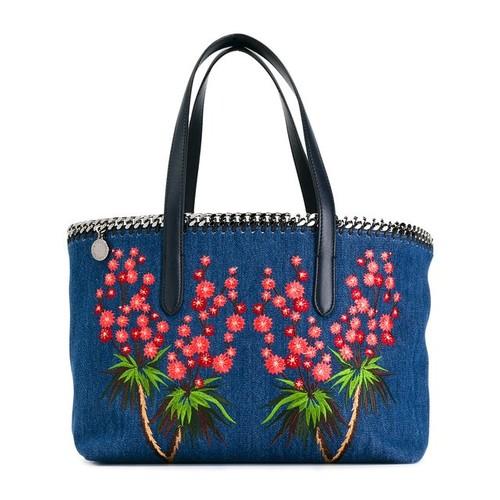 STELLA MCCARTNEY Falabella Embroidered Denim Shopper