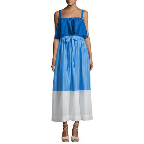 DIANE VON FURSTENBERG Colorblock Popover Prairie Dress, Blue/White