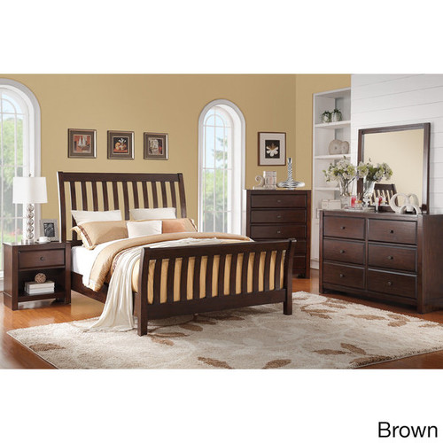 Marinka 4-Piece Bed Room Set [option : Cherry - Cherry Finish]