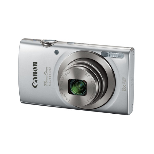 Canon PowerShot ELPH 180 20MP 8x Optical Zoom Camera with 8GB SD Card and Case - Silver