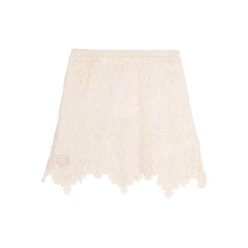 Guipure cotton-lace mini skirt