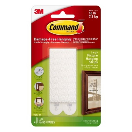 Command Large Picture Hanging Strips, 4/pk
