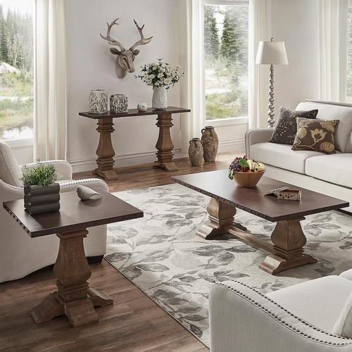 HomeSullivan Hatton Distressed Natural Zinc-Top End Table