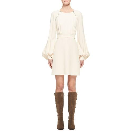 CHLOE Button-Trim Cady Mini Dress