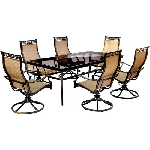 Hanover Monaco 7-Piece Aluminum Outdoor Dining Set with Rectangular Glass-Top Table and Contoured Sling Swivel Chairs