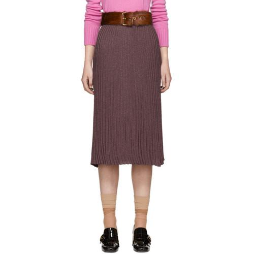 PRADA Burgundy Lurex Plissé Skirt