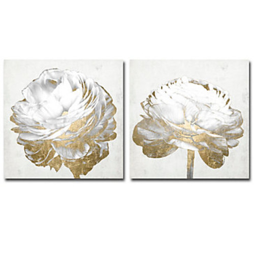 Gold And White Blossom On White - Set of 2