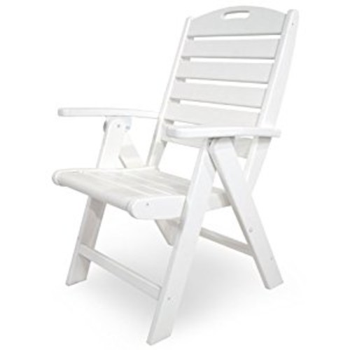 Trex Outdoor Furniture Yacht Club Folding Highback Chair, Classic White [Classic White]